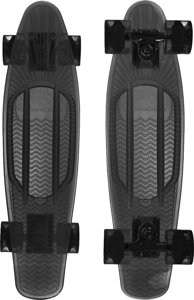 Скейтборд пластиковый Sunset Skateboards Smoke, цвет: темно-серый, дека 56 х 15 смZ90 blackКрасивый и функциональный пластборд Sunset Skateboards Smoke, изготовленныйиз прочного поликарбоната (PC), отлично сочетается со светящимися колесами Flare LED. Стильный днем и ночью,он создан для того, чтобы производить впечатление на окружающих. Пластборд сочетает в себе высокую прочность поликарбоната, который используют для производства бронестекол, гибкость и стабильность. Запатентованная формула с УФ-ингибиторами продлевает срок службы на открытом воздухе. Колеса выполнены из высококачественного полиуретана.Подходит для детей от 7 лет.