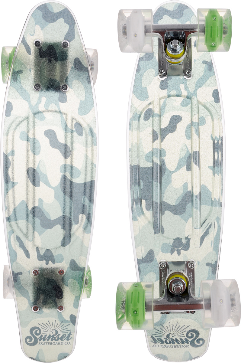 Скейтборд пластиковый Sunset Skateboards  Camo Grip , дека 56 х 15 см - Скейтборды и пенни борды