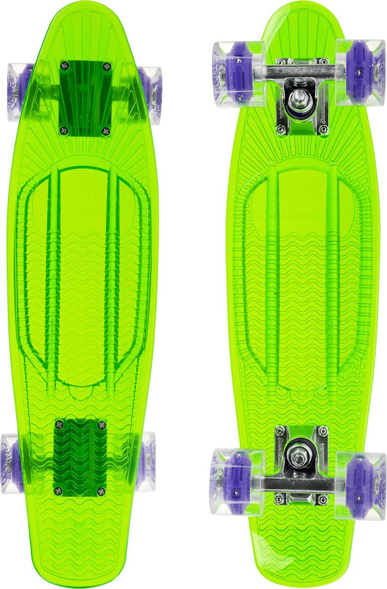 Скейтборд пластиковый Sunset Skateboards Alien, цвет: зеленый, прозрачный, дека 56 х 15 смMHDR2G/AКрасивый и функциональный пластборд Sunset Alien, изготовленный из прочного поликарбоната (PC), отлично сочетается со светящимися колесами Flare LED. Стильный днем и ночью, он создан для того, чтобы производить впечатление на окружающих. Пластборд сочетает в себе высокую прочность поликарбоната, который используют для производства бронестекол, гибкость и стабильность. Запатентованная формула с УФ-ингибиторами продлевает срок службы на открытом воздухе. Колеса выполнены из высококачественного полиуретана.Подходит для детей от 7 лет.