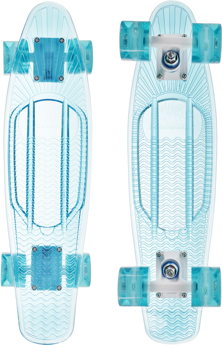 Скейтборд пластиковый Sunset Skateboards Ocean, цвет: голубой, дека 56 х 15 смRUC-01Красивый и функциональный пластборд Sunset Skateboards Ocean, изготовленный из прочного поликарбоната (PC), отлично сочетается со светящимися колесами Flare LED. Стильный днем и ночью, он создан для того, чтобы производить впечатление на окружающих. Пластборд сочетает в себе высокую прочность поликарбоната, который используют для производства бронестекол, гибкость и стабильность. Запатентованная формула с УФ-ингибиторами продлевает срок службы на открытом воздухе. Колеса выполнены из высококачественного полиуретана.Подходит для детей от 7 лет.