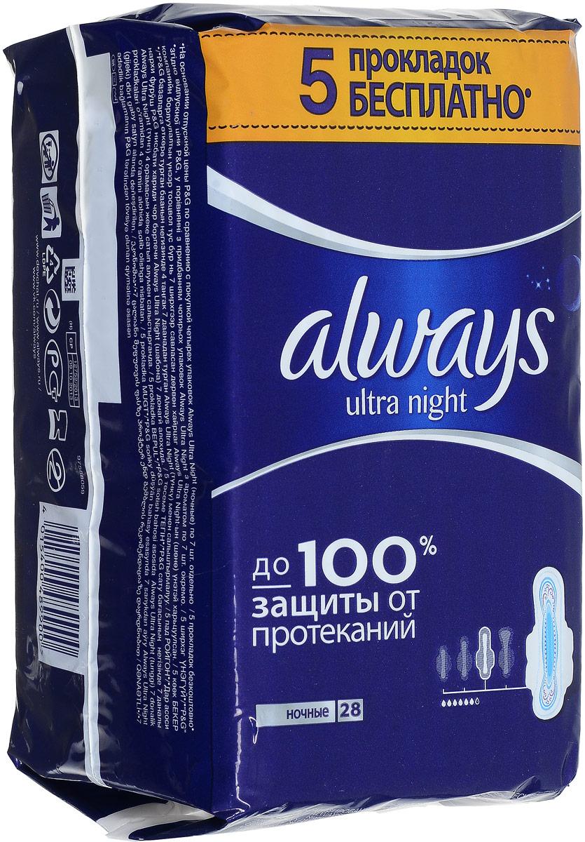 Always Ultra Женские гигиенические прокладки ароматизированные Night Quatro 28штCRS-80270154Ультратонкие прокладки Always Ultra обеспечивают до 100% защиты от протеканий. НОВЫЕ УЛУЧШЕННЫЕ Always защищают тебя во время менструаций, быстро впитывая жидкость и блокируя ее внутри прокладки Новый быстро впитывающий и более комфортный верхний слой Новый усиленный абсорбирующий внутренний слой с еще большим количеством впитывающего гелеобразующего материала Технология нейтрализации запаха, содержит легкий аромат Крылышки с шестью растягивающимися зонами защищают от протеканий Дерматологически протестированы