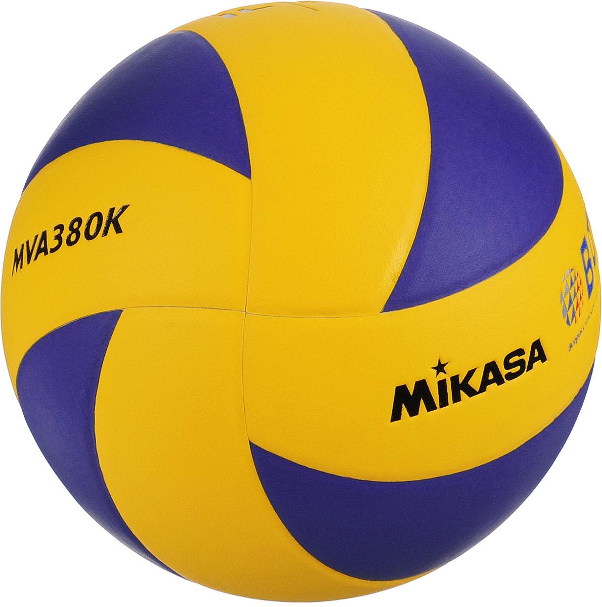 Мяч волейбольный Mikasa MVA 380K. Размер 5120330_yellow/blackMikasa MVA 380K- этотренировочный и любительский мяч для тех, кто хочет играть в течение длительного времени настоящим брендовым мячом. Мяч состоит из 8 панелей, выполненных из синтетической кожи (поливинилхлорид). Камера выполнена из бутила и армирована нейлоновой нитью.УВАЖЕМЫЕ КЛИЕНТЫ!Обращаем ваше внимание на тот факт, что мяч поставляется в сдутом виде. Насос в комплект не входит.