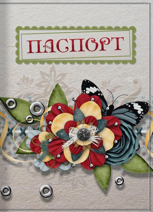 Обложка для паспорта женская КвикДекор Скрапбукинг, цвет: слоновая кость. DC-15-0004-1 скрапбукинг часы