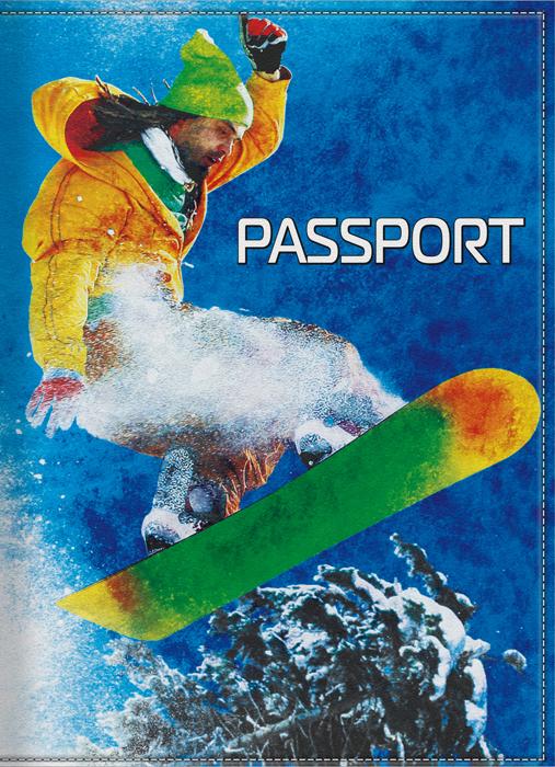 Обложка для паспорта мужская КвикДекор Сноубордист, цвет: синий. DC-15-0031-192576Оригинальная, яркая и качественная обложка для паспорта КвикДекор Сноубордист изготовлена из качественной экокожи. Подходит для всех видов паспортов, как общегражданских, так и заграничных. Изображение устойчиво к стиранию. Изделие раскладывается пополам.Яркий современный дизайн, который является основной фишкой данной модели, будет радовать глаз.