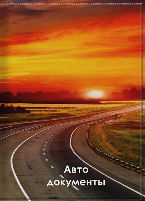 Обложка для автодокументов КвикДекор Вечерняя дорога, цвет: оранжевый. DC-15-0050-1GL-258Оригинальная обложка для автодокументов КвикДекор Вечерняя дорога изготовлена из ПВХ и экокожи. Обложка внутри имеет прозрачный вкладыш для различных водительских документов. Изображение устойчиво к стиранию.