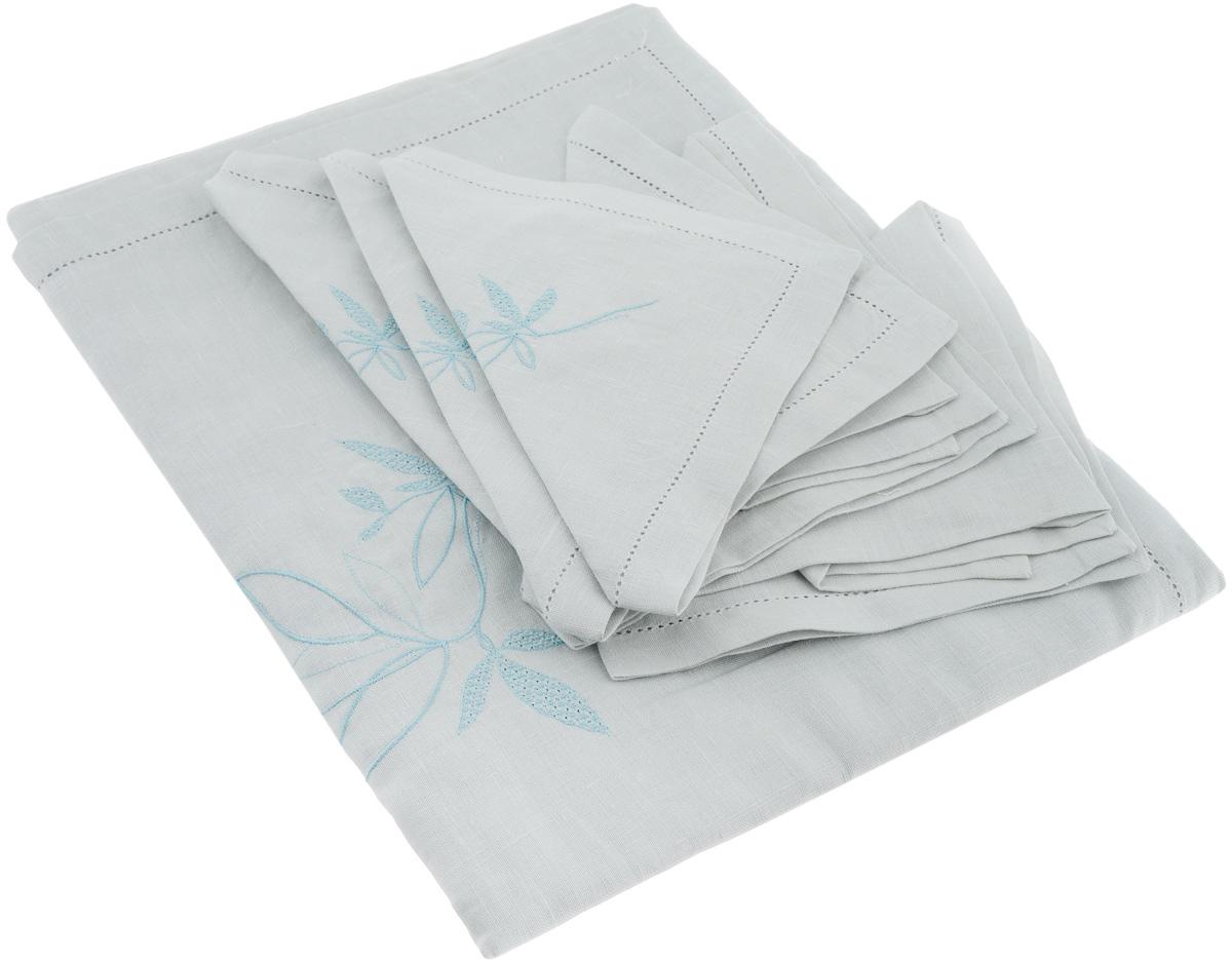 Комплект столовый Гаврилов-Ямский Лен, цвет: голубой, 7 предметов. 5со39691004900000360Столовый комплект Гаврилов-Ямский Лен, выполненный из 100% льна, состоит из скатерти и шести салфеток и декорирован вышивкой.Лён - поистине, уникальный экологически чистый материал. Изделия из льна обладают уникальными потребительскими свойствами. Такой комплект порадует вас невероятно долгим сроком службы.Столовый комплект Гаврилов-Ямский Лен придаст вашему дому уют и тепло. Размер скатерти: 140 х 180 см.Размер салфетки: 42 х 42 см.