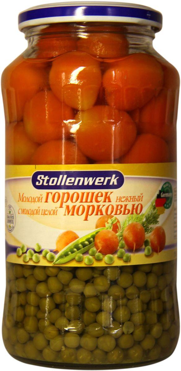 Stollenwerk горошек молодой с молодой морковью, 720 млСТo 89661Горошек Stollenwerk собирается молодым, неперезревшим; мелкий и нежный на вкус.