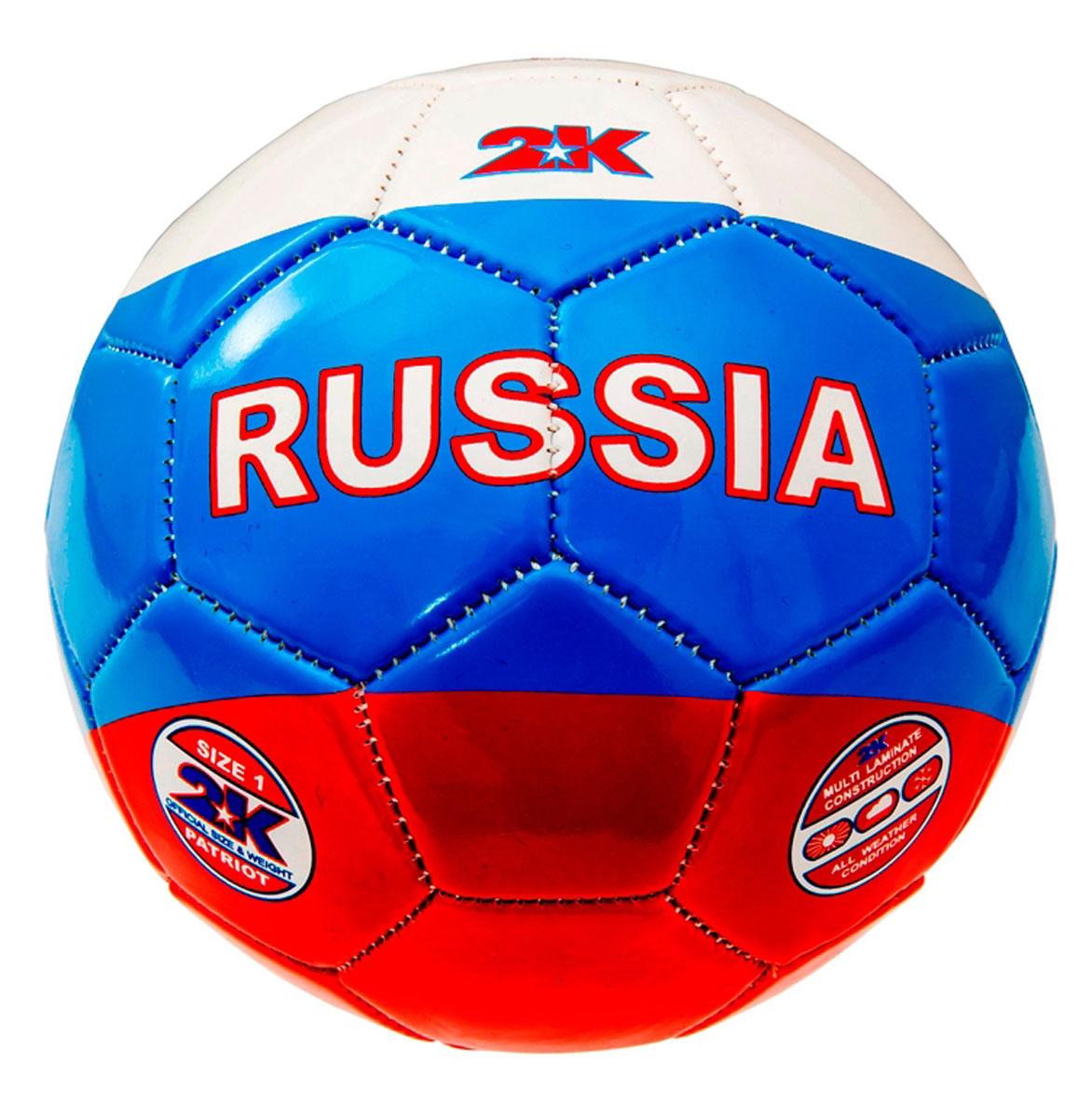 Мяч сувенирный 2K Sport Patriot, цвет: белый, синий, красный. Размер 128257037Сувенирный мяч 2K Sport Patriot украшен символикой Российской Федерации. Подкладка выполнена из трех слоев полиэстера. Камера изготовлена из высококачественного латекса. Машинная сшивка.