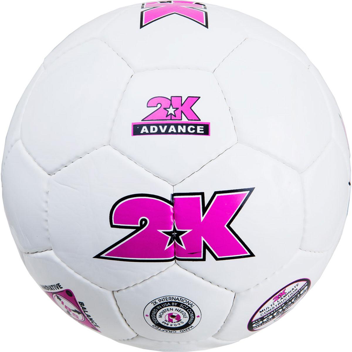 Мяч футбольный 2K Sport Advance, цвет: белый, фиолетовый. Размер 4127048Любительский футбольный мяч 2K Sport Advance изготовлен из полиуретана. Бесшовная камера выполнена из натурального латекса. Сшивка производилась вручную. Швы проклеены для герметизации.