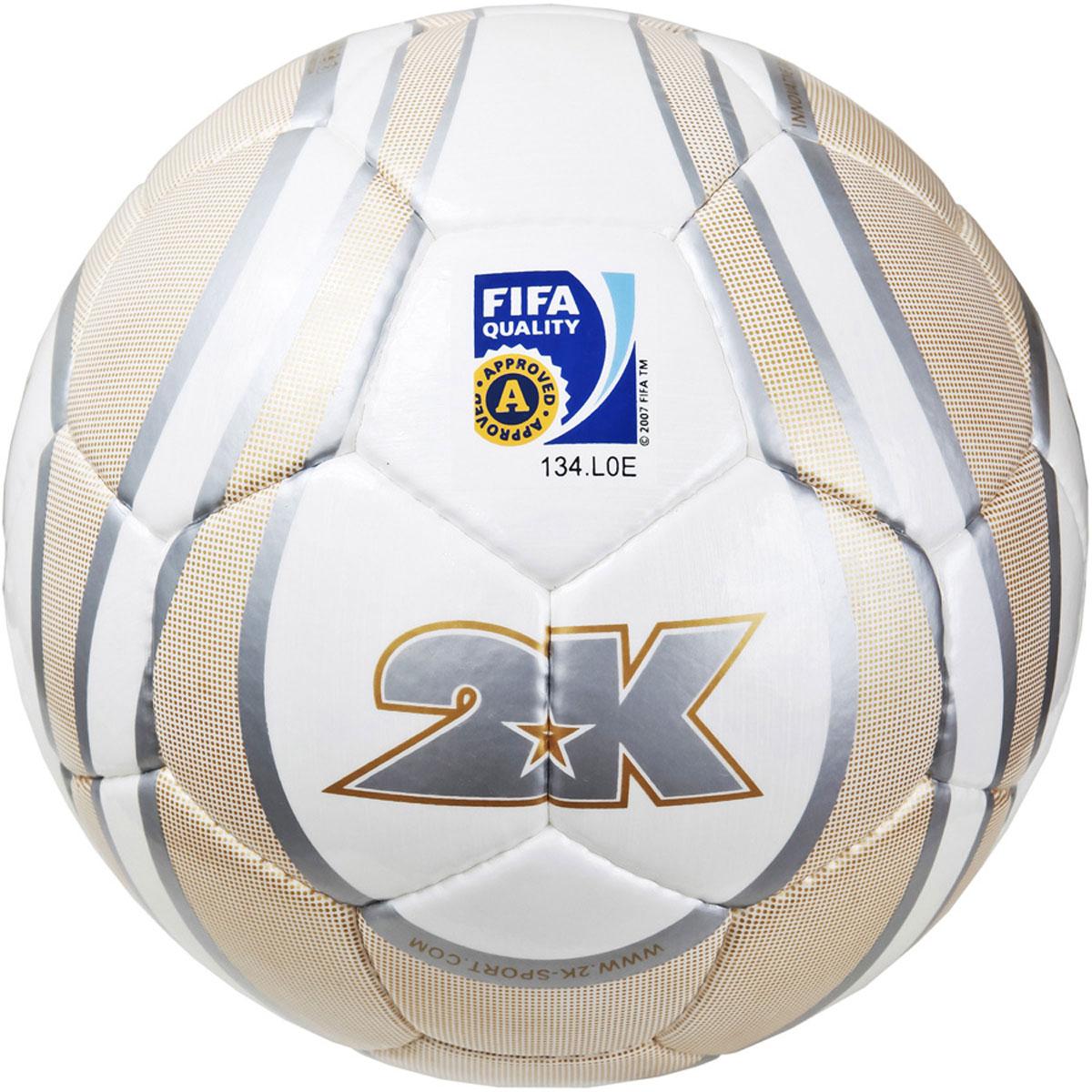 Мяч футбольный 2K Sport Parity, цвет: белый, золотистый, серый. Размер 5KRZEFIT3HR-BLACKПрофессиональный мяч 2K Sport Parity одобрен FIFA для проведения соревнований высшего уровня.Верх изделия выполнен из ЭВА и полиуретана. Четырехслойная текстильная подложка. Мяч имеет бесшовную бутиловую камеру с бутиловым ниппелем. Ручная сшивка панелей.Сертификат FIFA Approved.