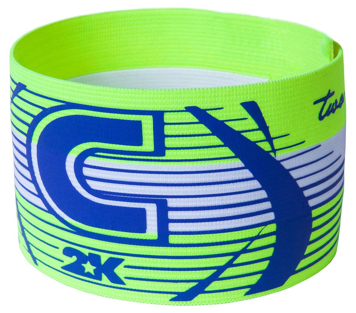 Повязка капитанская 2K Sport Captain, цвет: светло-зеленый, голубой капитанская повязка mitre a4029arf8