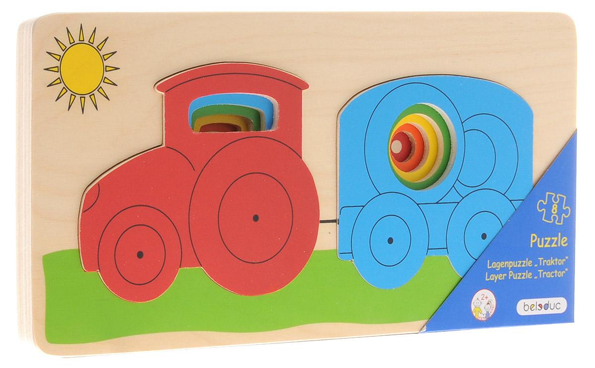 Beleduc Пазл для малышей Трактор апплика игра шнуровка трактор