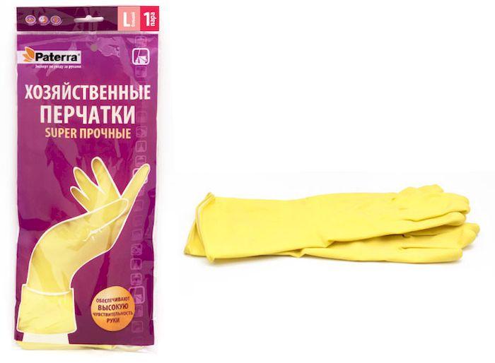 Перчатки хозяйственные Paterra Super прочные. Размер 9 (L)SVC-300Хозяйственные перчатки Paterra Super прочные предназначены для защиты рук от воздействия воды, пищевых жиров и бытовых моющих средств. Перчатки прочные и долговечные, выполнены из латекса с внутренним напыление из хлопка, которое препятствует парниковому эффекту ладони. Без резкого запаха резины. Перчатки имеют высокую манжету - 14 см.