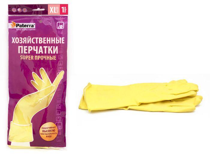 Перчатки хозяйственные Paterra Super прочные. Размер 10 (XL)19201Хозяйственные перчатки Paterra Super прочные предназначены для защиты рук от воздействия воды, пищевых жиров и бытовых моющих средств. Перчатки прочные и долговечные, выполнены из латекса с внутренним напыление из хлопка, которое препятствует парниковому эффекту ладони. Без резкого запаха резины. Перчатки имеют высокую манжету - 14 см.