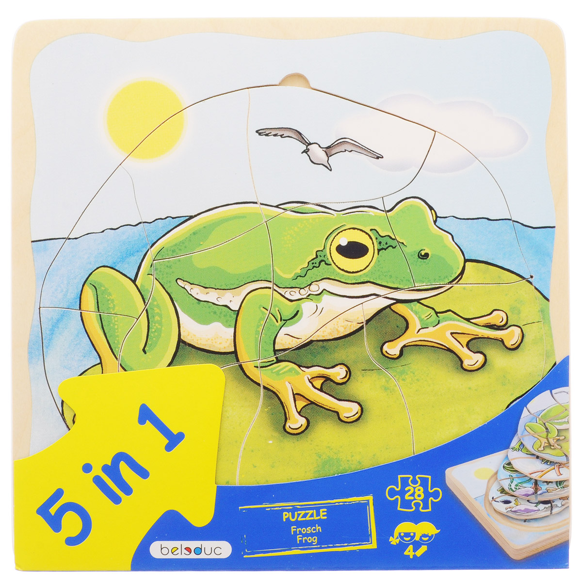 Beleduc Пазл для малышей Лягушка 5 в 1 -