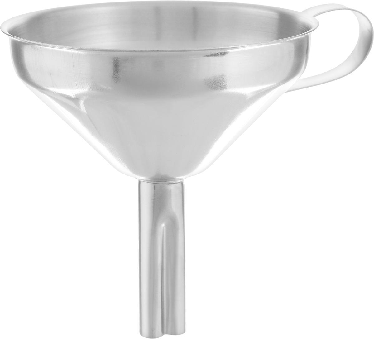 Воронка Axentia, диаметр 10 см40970Воронка Axentia изготовлена из нержавеющей стали. Предназначена для переливания жидкостей в сосуд с узким горлышком. Воронка плотно прилегает к краям наполняемой емкости, поэтому вы ни капли не прольете мимо. Изделие оснащено удобной ручкой. Такая воронка станет прекрасным дополнением к коллекции ваших кухонных аксессуаров. Диаметр воронки: 10 см. Высота воронки: 10,5 см.