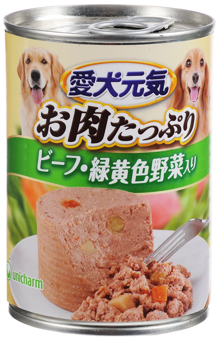 Консервы Unicharm Aiken Genki для собак, с говядиной и овощами, 375 г20576Влажный корм для собак Unicharm Aiken Genki - это сбалансированное высококачественное питание для собак. Аппетитные сочные кусочки говядины, овощей и рыбы в тающем соусе произведены с сохранением всех свойств натуральных продуктов, содержат комплекс питательных веществ и микроэлементов, необходимых для полноценного развития вашего четвероногого друга. Корм полностью удовлетворяет ежедневные энергетические потребности взрослого животного и обеспечивает оптимальное функционирование пищеварительной системы.Товар сертифицирован.