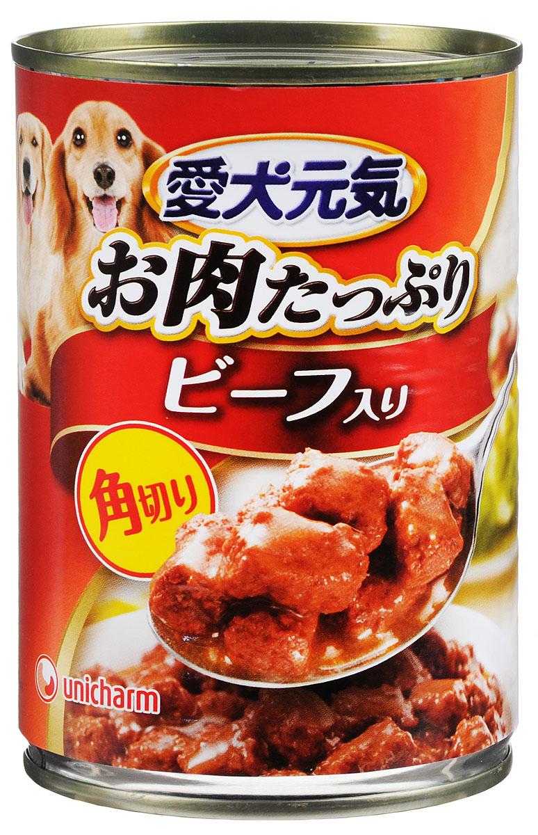 Консервы Unicharm Aiken Genki для собак, с говяжьим гуляшом, 400 г0120710Консервы Unicharm Aiken Genki - это сбалансированное высококачественное питание для вашего питомца. Аппетитные сочные кусочки говядины в тающем соусе не только вкусны, но и очень полезны. Продукт произведен с сохранением всех свойств натуральной говядины, содержит комплекс питательных веществ и микроэлементов, необходимых для полноценного развития вашего четвероногого друга. Корм полностью удовлетворяет ежедневные энергетические потребности взрослого животного и обеспечивает оптимальное функционирование пищеварительной системы.Товар сертифицирован.