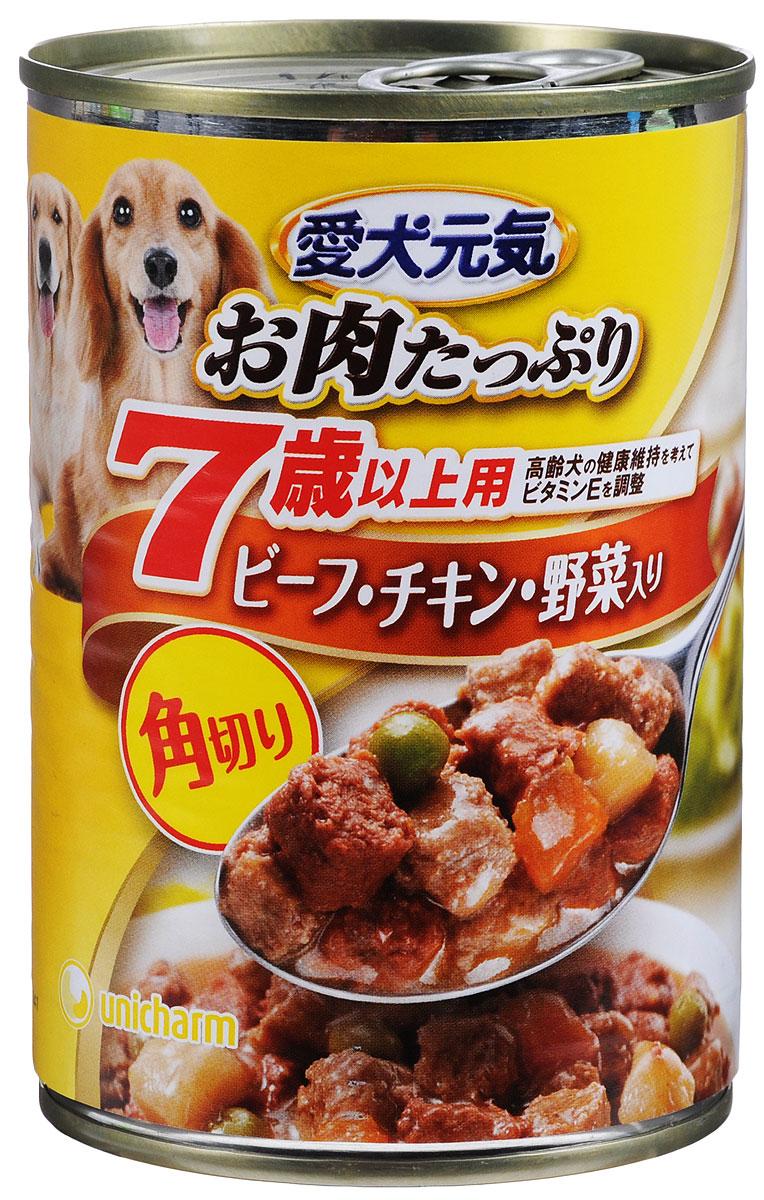 Консервы Unicharm Aiken Genki для собак c 7 лет, с говяжьим гуляшом, курицей и овощами, 400 г0120710Консервы Unicharm Aiken Genki - это сбалансированное высококачественное питание для собак старше 7 лет. Аппетитные кусочки говядины, курицы и овощей в тающем мясном соусе произведены с сохранением всех свойств натуральных продуктов, содержат комплекс питательных веществ и микроэлементов, необходимых для поддержания здоровья и хорошей физической формы вашего четвероногого друга. Корм полностью удовлетворяет ежедневные энергетические потребности взрослого животного и обеспечивает оптимальное функционирование пищеварительной системы.Товар сертифицирован.