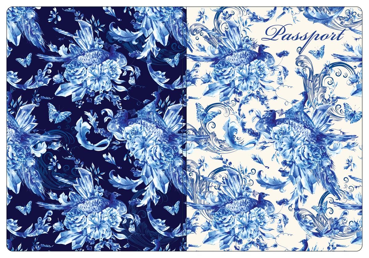 Обложка для паспорта женская Magic Home, цвет: синий, белый. 44513790Обложка для паспорта от Magic Home классической модели выполнена из поливинилхлорида. Модель с широкими полями, оформлена оригинальным принтом.