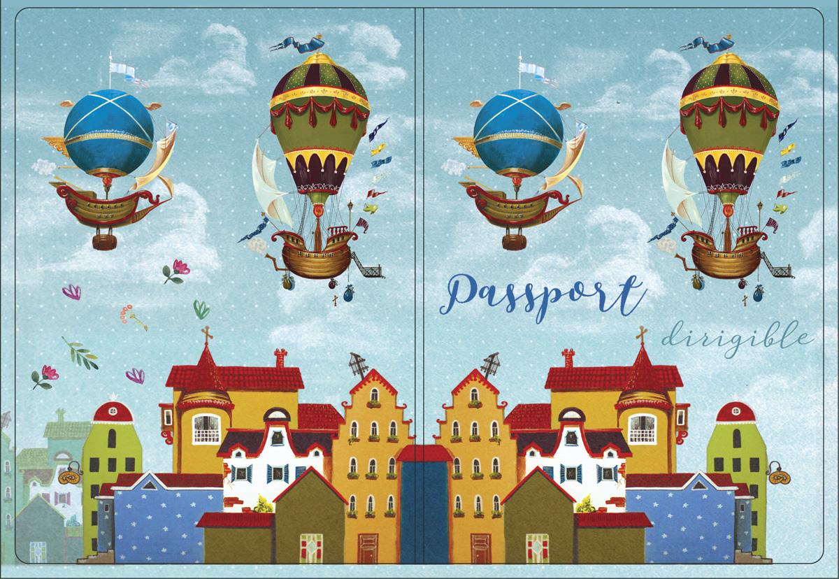 Обложка для паспорта Magic Home, цвет: голубой, коричневый. 4451444514Обложка для паспорта от Magic Home классической модели выполнена из поливинилхлорида. Модель с широкими полями, оформлена оригинальным принтом.