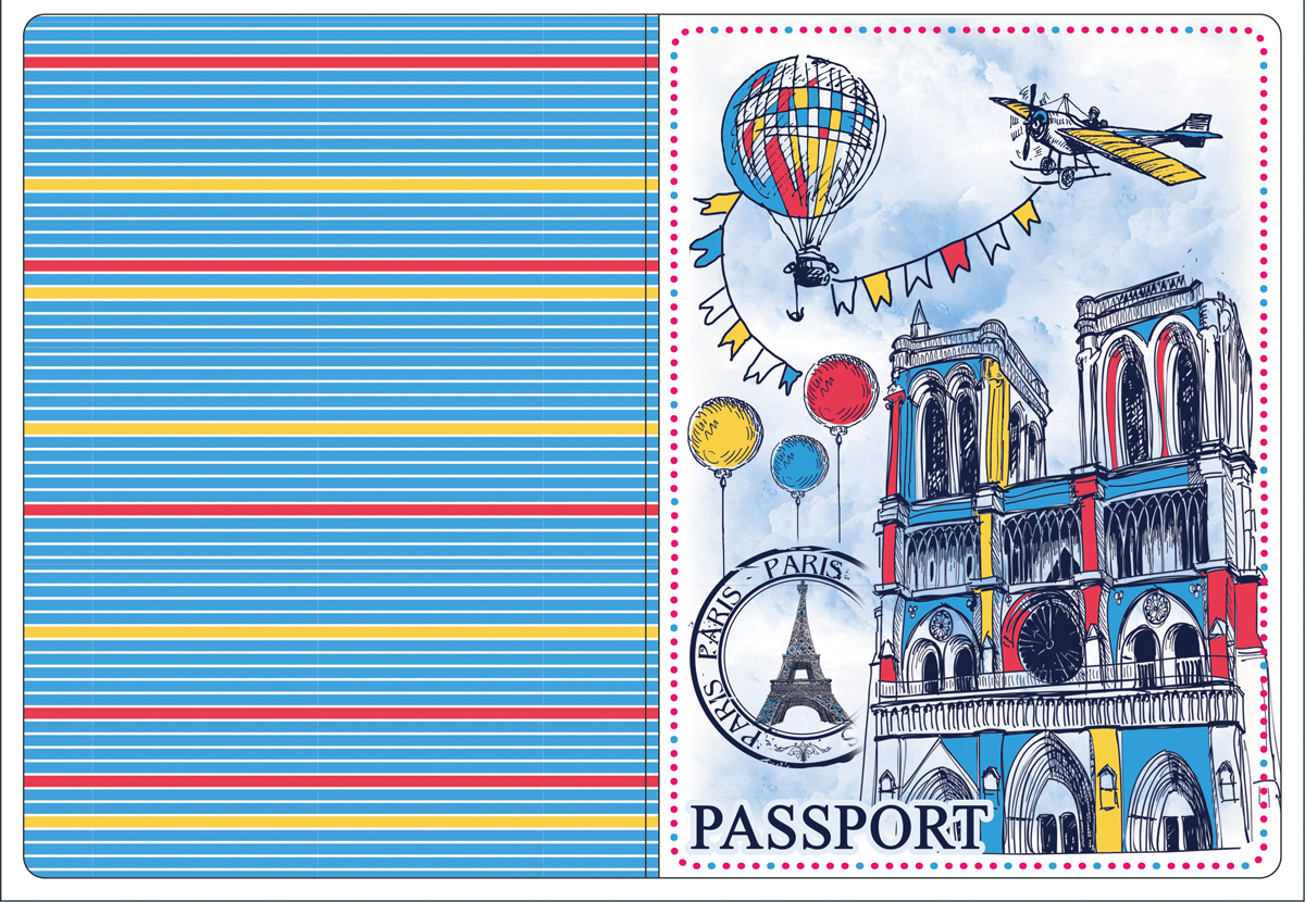 Обложка для паспорта Magic Home, цвет: голубой, красный. 4451944519Обложка для паспорта от Magic Home классической модели выполнена из поливинилхлорида. Модель с широкими полями, оформлена оригинальным принтом.