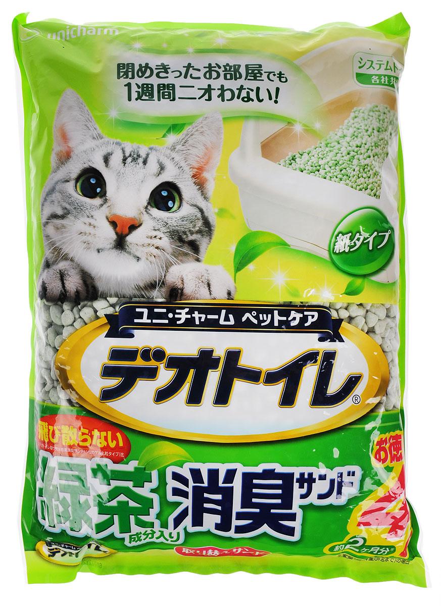 Наполнитель для кошачьего туалета Unicharm DeoToilet, с ароматом зеленого чая, 4 л0120710Натуральный целлюлозный гигиенический наполнитель для кошачьих туалетов Unicharm DeoToilet активно впитывает не только жидкость, но и запах. Наполнитель не превращается в вязкую массу, не остается на шерсти и в лапках кошки. Очень экономичен в использовании. Содержит специальные ароматизированные гранулы, предотвращающие распространение запахов даже в закрытом помещении, надолго обеспечивает чистоту и свежесть лотка вашей кошки. Аромат зеленого чая создает дополнительное ощущение свежести при использовании.Состав: целллюлозно-полимерный поглотитель, ароматизатор, экстракт зеленого чая.Товар сертифицирован.