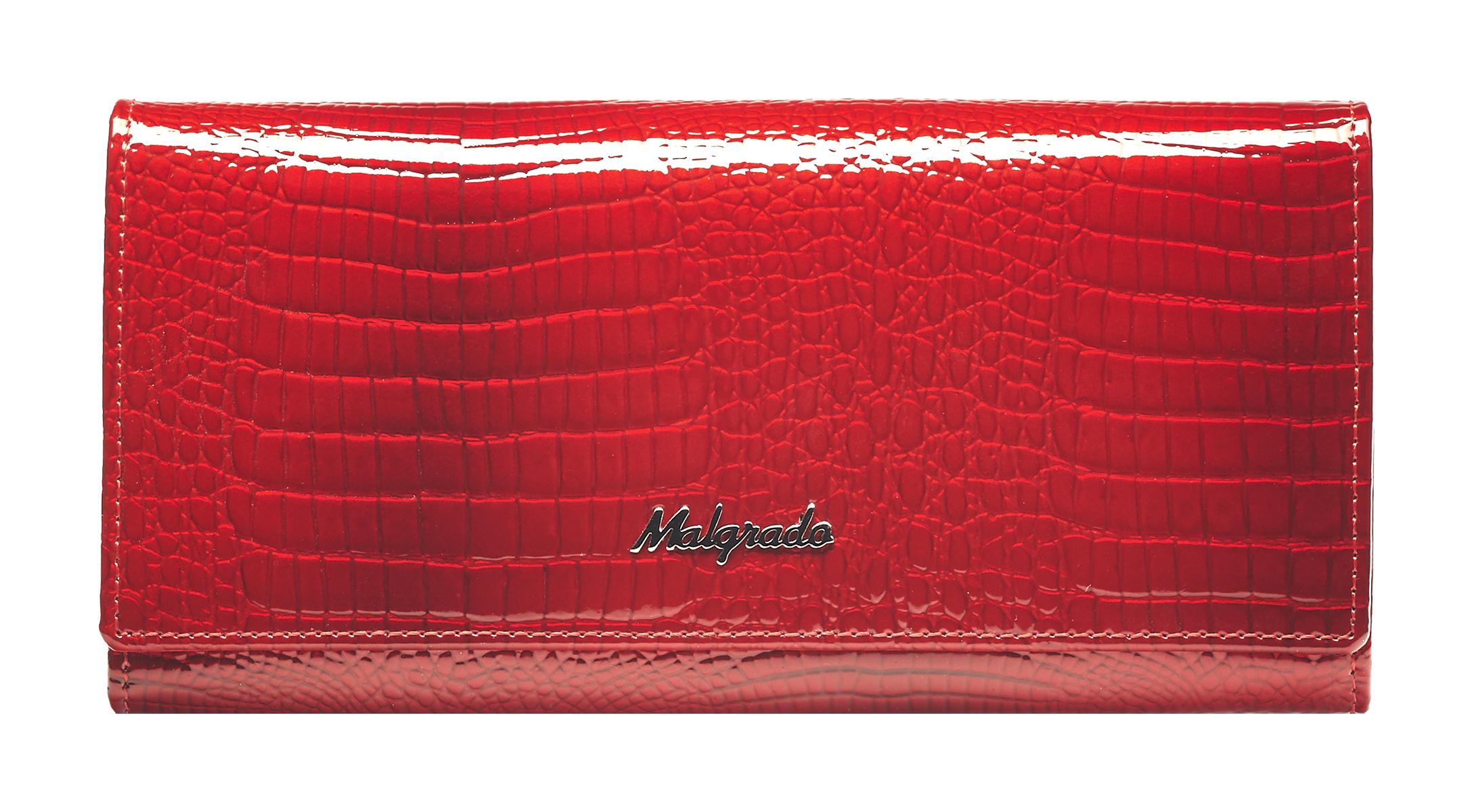 Кошелек женский Malgrado, цвет: красный. 72076-441-022_516Стильный кошелек Malgrado изготовлен из лаковой натуральной кожи красного цвета с декоративным тиснением под рептилию и вмещает в себя купюры в развернутом виде в полную длину. Внутри содержит шесть отделений для купюр, два дополнительных кармана на молнии, четыре кармана для дисконтных карт, визиток, кредиток, один прозрачный кармашек для пропуска, проездного или фотографии и два дополнительных потайных кармана. С оборотной стороны расположен карман на молнии. Закрывается кошелек клапаном на кнопку.Кошелек упакован в подарочную металлическую коробку с логотипом фирмы. Такой кошелек станет замечательным подарком человеку, ценящему качественные и практичные вещи. Характеристики:Материал: натуральная кожа, текстиль, металл. Размер кошелька: 18,5 см х 9 см х 3 см. Цвет: красный. Размер упаковки:23 см х 13 см х 4,5 см. Артикул: 72076-44.