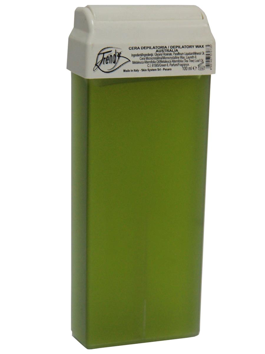 Trendy Воск для депиляции в картиридже Австралия в картридже, 100 мл30017Неплотный воск предназначен для гиперчувствительной кожи.Описание:Входящее в состав масло чайного дерева оказывает антисептическое, антибактериальное действие, обладает высокой заживляющей способностью и противовоспалительными свойствами.
