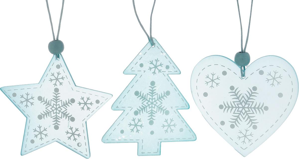 Набор новогодних подвесных украшений House & Holder Новогодний, цвет: голубой, белый, 3 шт1.645-504.0Набор подвесных украшений House & Holder Новогодний прекрасно подойдет для праздничного декора новогодней ели. Набор состоит из 3 пластиковых украшений в виде звезды, сердца, ели. Для удобного размещения на елке для каждого украшения предусмотрено петелька. Елочная игрушка - символ Нового года. Она несет в себе волшебство и красоту праздника. Создайте в своем доме атмосферу веселья и радости, украшая новогоднюю елку нарядными игрушками, которые будут из года в год накапливать теплоту воспоминаний. Откройте для себя удивительный мир сказок и грез. Почувствуйте волшебные минуты ожидания праздника, создайте новогоднее настроение вашим дорогим и близким.Размер звезды: 8 х 7,5 см.Размер сердца: 7 х 6,5 см.Размер ели: 7 х 8 см.