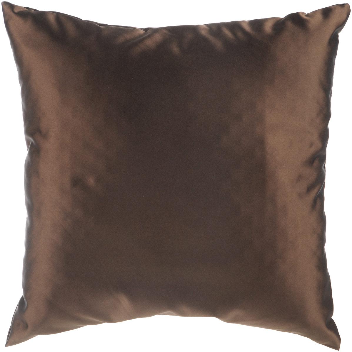 Подушка декоративная KauffOrt Крем, цвет: темно-коричневый, 40 x 40 см3121300635Декоративная подушка Крем прекрасно дополнит интерьер спальни или гостиной. Шелковый на ощупь чехол подушки выполнен из прочного полиэстера. Внутри находится мягкий наполнитель. Чехол легко снимается благодаря потайной молнии.Красивая подушка создаст атмосферу уюта и комфорта в спальне и станет прекрасным элементом декора.