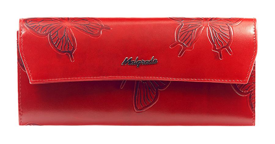Кошелек женский Malgrado, цвет: красный. 75504-7003D RedW16-11128_323Женский кошелек Malgrado выполнен из натуральной кожи высшего качества с декоративным тиснением в виде бабочек. Внутри кошелек содержит четыре отделения для купюр, отделение для мелочи на молнии, карман для бумаг и чеков, девять кармашков для кредитных карт или визиток. Закрывается кошелек клапаном на кнопку. На задней стенке с лицевой стороны расположен дополнительный открытый карман для бумаг.Кошелек упакован в фирменную металлическую коробку. Характеристики: Материал: натуральная кожа, текстиль, металл.Цвет: красный.Размер кошелька: 19,5 см х 9 см х 2 см.Размер упаковки: 23 см х 12,5 см х 4,5 см.Артикул: 75504-7003D.