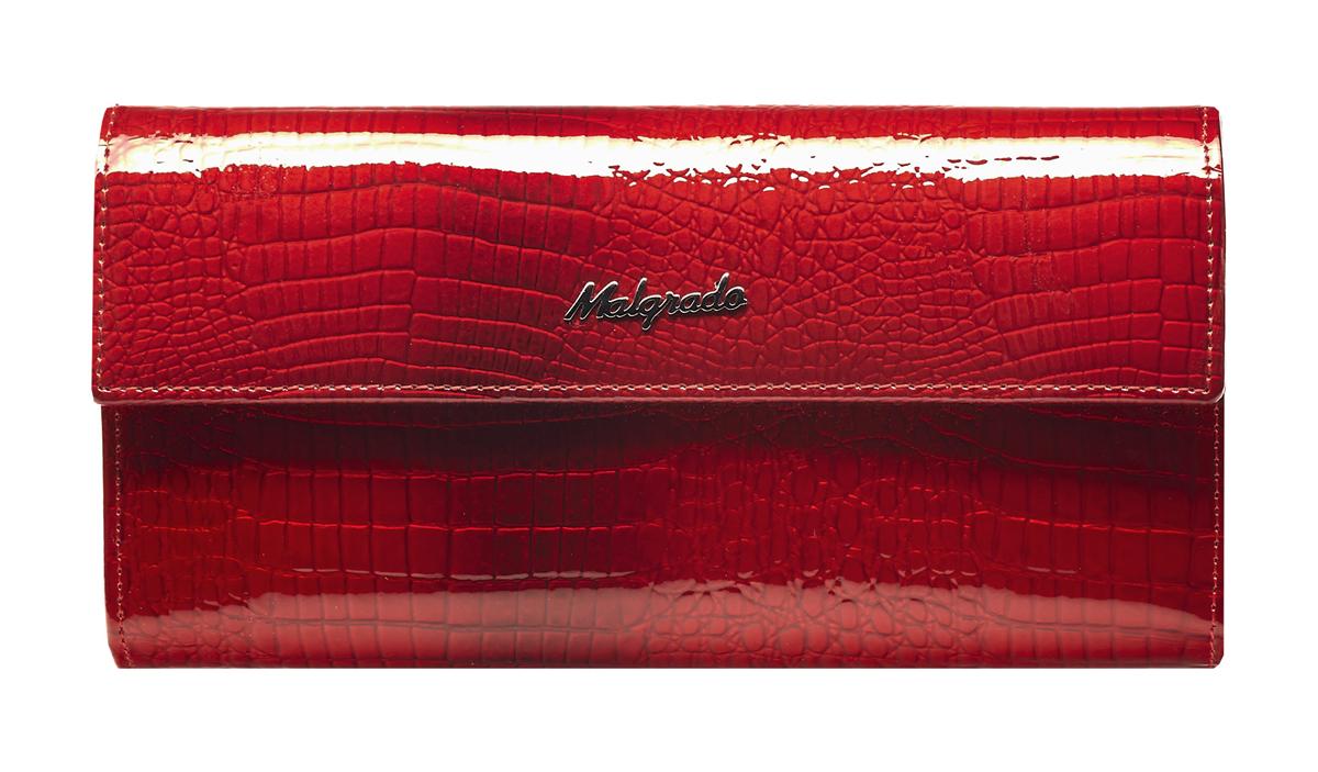 Кошелек женский Malgrado, цвет: красный. 72044-1-441-022_516Стильный кошелек Malgrado изготовлен из натуральной лакированной кожи с тиснением под рептилию. Лицевая сторона изделия оформлена гравировкой в виде названия бренда.Кошелек закрывается широким клапаном на застежку-кнопку. Внутри расположены три отделения для купюр и отделение для мелочи на защелке. Изюминкой модели является отделение на застежке-кнопке, внутри которого имеются десять прорезных кармашков для пластиковых карт и визиток, кармашек с прозрачным окошком из мягкого пластика и один потайной карман для различных документов и мелких бумаг.Тыльная сторона изделия оформлена прорезным карманом на застежке-молнии.Кошелек упакован в подарочную металлическую коробку с логотипом фирмы.Такой кошелек станет замечательным подарком человеку, ценящему качественные и практичные вещи. Характеристики:Материал: натуральная кожа, текстиль, металл. Размер кошелька: 18 см х 9 см х 3,5 см. Цвет: красный. Размер упаковки: 23 см х 12,5 см х 4,5 см. Артикул: 72044-1-44#.