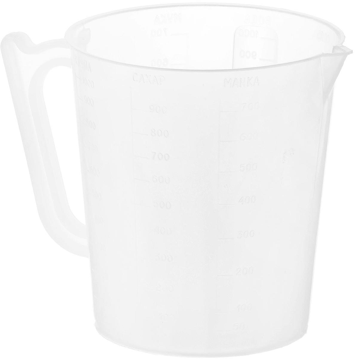 Мерный стакан Хозяюшка Мила, 1 л36014Мерный стакан Хозяюшка Мила, выполненный из плотного полипропилена, станет незаменимым аксессуаром на вашей кухне, ведь зачастую для приготовления блюд необходима точность. Стакан имеет удобную ручку и носик, которые делают изделие еще более простым в использовании. Стакан позволяет мерить жидкости до 1000 мл.Диаметр стакана по верхнему краю: 12 см.Высота стакана: 13,5 см.Не рекомендуется мыть стакан в посудомоечной машине.