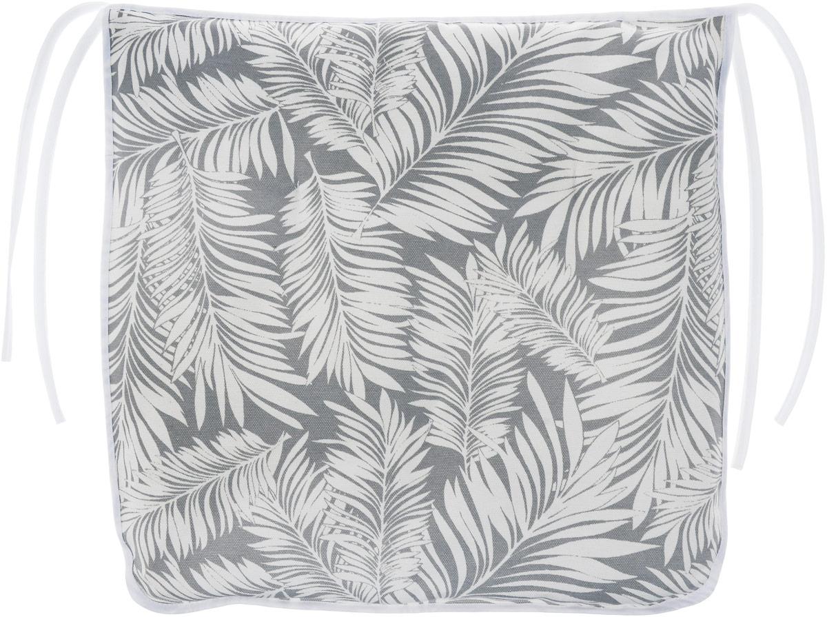 Подушка на стул KauffOrt Пальма, цвет: серый, белый, 40 x 40 смVT-1520(SR)Подушка на стул KauffOrt Пальма не только красиво дополнит интерьер кухни, но и обеспечит комфорт при сидении. Чехол выполнен из хлопка и полиэстера, а наполнитель из холлофайбера. Подушка легко крепится на стул с помощью завязок. Правильно сидеть - значит сохранить здоровье на долгие годы. Жесткие сидения подвергают наше здоровье опасности. Подушка с мягким наполнителем поможет предотвратить большинство нежелательных последствий сидячего образа жизни.Толщина подушки: 5 см.