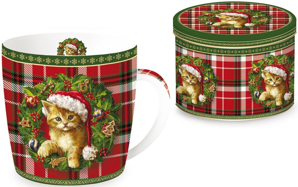 Кружка Nuova R2S Рождественский котенок, 350 мл115510Кружка Nuova R2S Рождественский котенок, изготовленная из высококачественного фарфора, оформлена ярким рисунком. Красочность оформления придется по вкусу и ценителям классики, и тем, кто предпочитает утонченность и изысканность.Такая кружка - отличный вариант новогоднего подарка для ваших близких и друзей.