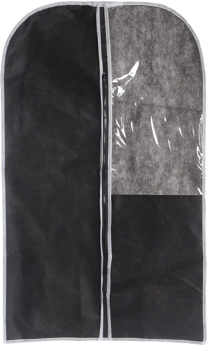 Чехол для одежды Eva, с прозрачной вставкой, цвет: черный, белый, 60 х 100 смRG-D31SЧехол для одежды Eva изготовлен из высококачественного нетканого материала. Особое строение полотна создает естественную вентиляцию: материал дышит и позволяет воздуху свободно проникать внутрь чехла, не пропуская пыль. Это особенно необходимо для меховой, кожаной и шерстяной одежды. Благодаря форме чехла, одежда не мнется даже при длительном хранении. Чехол застегивается на молнию. Для удобства изделие имеет прозрачное окошко. Чехол для одежды будет очень полезен при транспортировке вещей на близкие и дальние расстояния, при длительном хранении сезонной одежды, а также при ежедневном хранении вещей из деликатных тканей. Чехол для одежды не только защитит ваши вещи от пыли и влаги, но и поможет доставить одежду на любое мероприятие в идеальном состоянии.Размер чехла: 60 х 100 см.