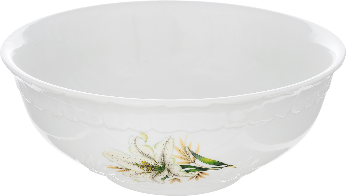 Салатник Фарфор Вербилок Белая лилия, 1,1 лG9563Салатник Фарфор Вербилок Белая лилия изготовлен из высококачественного фарфора. Внешняя стенка оформлена красочным изображением. Такой салатник будет смотреться не только стильно, но и элегантно. Он дополнит коллекцию кухонной посуды и будет служить долгие годы. Диаметр салатника (по верхнему краю): 18,5 см. Высота салатника: 7,5 см.
