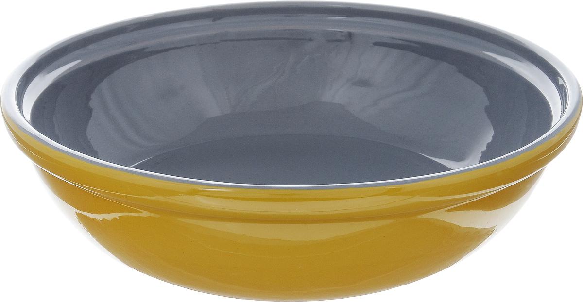 Салатник Борисовская керамика Модерн, цвет: горчичный, серый, 1 л115510Салатник Борисовская керамика Модерн выполнен из высококачественной глазурованной керамики. Этот удобный салатник придется по вкусу любителям здоровой и полезной пищи. Благодаря современной удобной форме, изделие многофункционально и может использоваться хозяйками на кухне как в виде салатника, так и для запекания продуктов, с последующим хранением в нем приготовленной пищи. Посуда термостойкая. Можно использовать в духовке и микроволновой печи.Диаметр (по верхнему краю): 22 см.Высота стенки: 6 см.