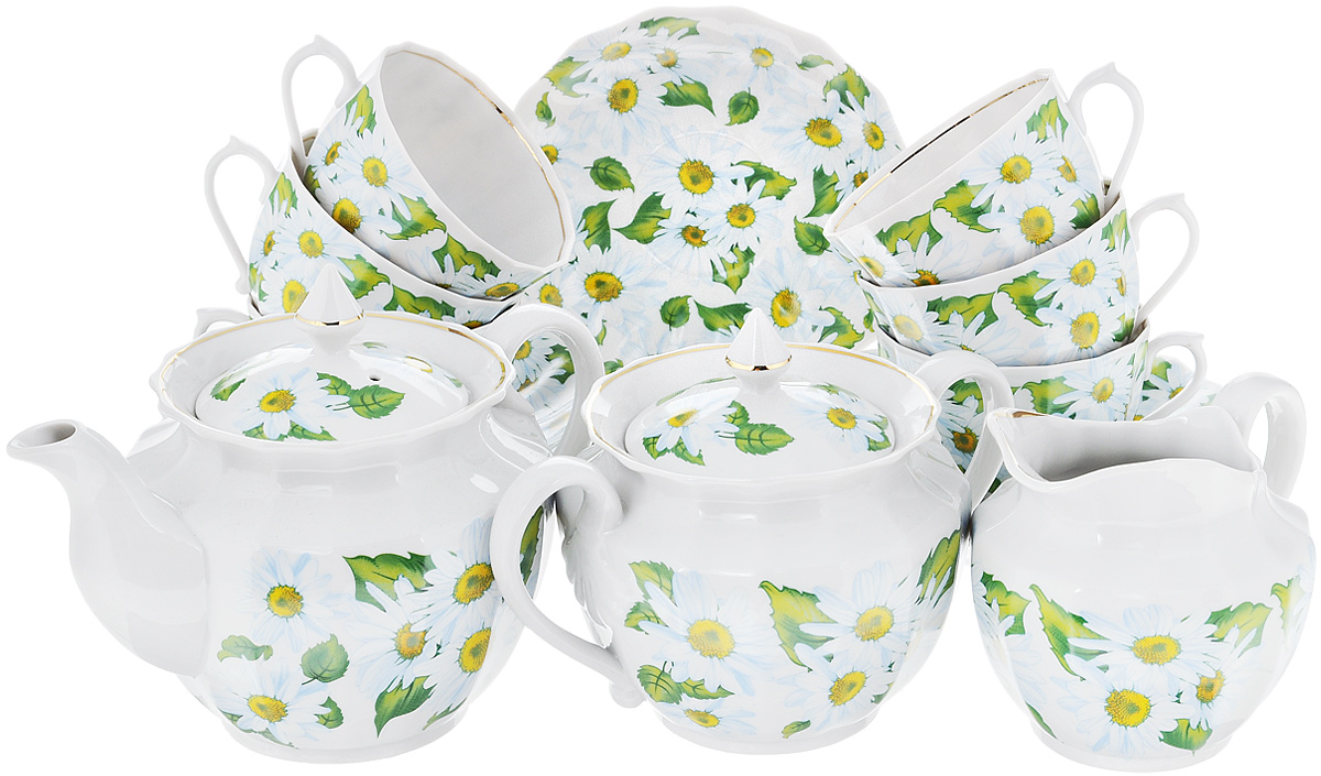 Сервиз чайный Фарфор Вербилок Любит - не любит, 15 предметовVT-1520(SR)Чайный сервиз Фарфор Вербилок Любит - не любит состоит из 6 чашек, 6 блюдец, сахарницы, заварочного чайника и сливочника. Изделия выполнены из высококачественного фарфора и оформлены красивым рисунком с изображением ромашек. Изящный чайный сервиз прекрасно оформит стол к чаепитию и порадует вас элегантным дизайном и качеством исполнения.Объем чайника: 600 мл.Высота чайника (без учета крышки): 11 см.Диаметр чайника (по верхнему краю): 10,5 см.Высота сахарницы (без учета крышки): 8 см.Диаметр сахарницы (по верхнему краю): 10,5 см.Объем сахарницы: 600 мл.Объем сливочника: 350 мл.Размер сливочника (по верхнему краю): 9 х 7 см. Высота сливочника: 10 см.Объем чашки: 200 мл.Диаметр чашки (по верхнему краю): 8,5 см.Высота чашки: 6 см.Диаметр блюдца: 14,5 см.Высота блюдца: 2,5 см.