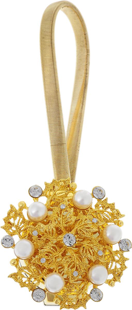 Подхват для штор TexRepublic Ajur. Rezinka, на магнитах, цвет: золотой. 789602615S540JAИзящный подхват для штор TexRepublic Ajur. Rezinka, выполненный из пластика и металла, можно использовать как держатель для штор или для формирования декоративных складок на ткани. С его помощью можно зафиксировать шторы или скрепить их, придать им требуемое положение, сделать симметричные складки. Благодаря магнитам подхват легко надевается и снимается.Подхват для штор является универсальным изделием, которое превосходно подойдет для любых видов штор. Подхваты придадут шторам восхитительный, стильный внешний вид и добавят уют в интерьер помещения.Длина подхвата: 25 см.Диаметр: 4,5 см.