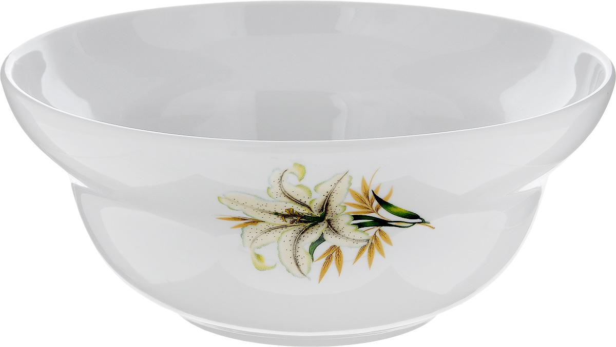 Салатник Фарфор Вербилок Белая лилия, 1,2 л54 009312Салатник Фарфор Вербилок Белая лилия изготовлен из высококачественного фарфора. Внешняя стенка оформлена красочным изображением. Такой салатник будет смотреться не только стильно, но и элегантно. Он дополнит коллекцию кухонной посуды и будет служить долгие годы. Диаметр салатника (по верхнему краю): 19 см. Высота салатника: 8 см.