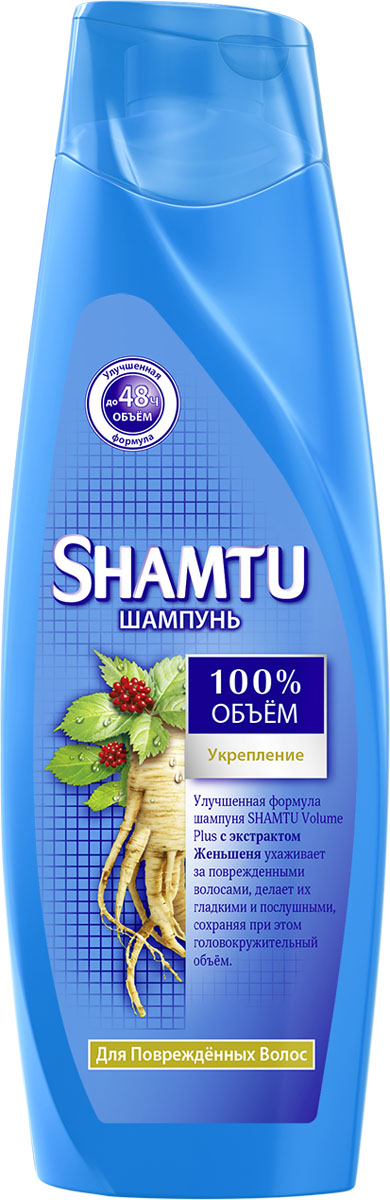 Shamtu Шампунь Укрепление с экстрактом женьшеня 360 млSatin Hair 7 BR730MNУлучшенная формула Shamtu Volume Plus c экстрактом женьшеня ухаживает за поврежденными волосами, делает их гладкими и послушными, сохраняя при этом головокружительный объем.