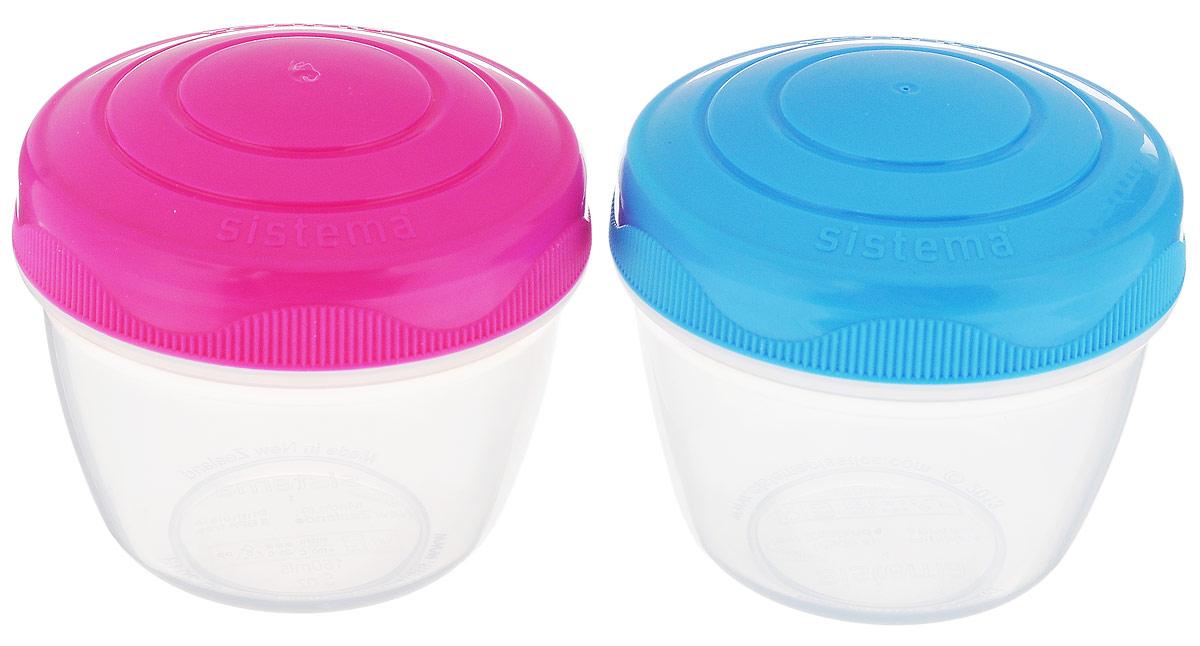 Набор контейнеров Sistema Yogurt, цвет: розовый, голубой, 150 мл, 2 штVT-1520(SR)Набор Sistema Yogurt, выполненный из высококачественного пластика, состоит из двух контейнеров. Изделия идеально подходят для йогурта, детского питания, соуса и много другого. Набор контейнеров Sistema Yogurt можно мыть в посудомоечной машине. Можно использовать в микроволной печи и холодильнике.Диаметр контейнера (по верхнему краю): 6,5 см.Высота контейнера (без учета крышки): 6 см.