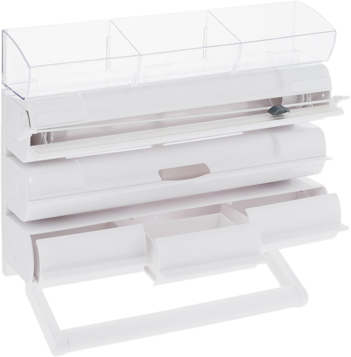 Органайзер кухонный Tescoma On Wall. 5 в 1, 30 х 38,5 х 8,5 смFA-5125 WhiteОрганайзер кухонный Tescoma On Wall. 5 в 1 выполнен из высококачественного пластика. Применяется для хранения и использования пищевой пленки, алюминиевой фольги и бумажных полотенец. Размещается на стене. Имеет прозрачную полку с тремя выдвижными ящиками для хранения мелких кухонных принадлежностей. Диспенсеры для пищевой пленки / алюминиевой фольги можно извлечь из органайзера и использовать отдельно. Конец пленки не прилипает к диспенсеру. В комплекте прилагаются инструкции и крепежи.Общий размер органайзера: 30 х 38,5 х 8,5 см.