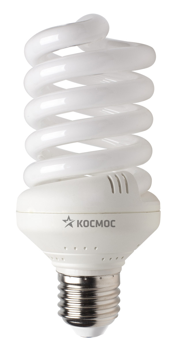 Лампа энергосберегающая Космос, свет: теплый. Модель Т3 SPC 30W E2727C0038552Энергосберегающая лампа Космос теплого света способствует расслаблению, ее лучше использовать в спальнях, местах для отдыха. Сфера применения энергосберегающей лампы Космос та же, что и у лампы накаливания, но данная лампа имеет ряд преимуществ: температура колбы ниже, чем у ламп накаливания, что позволяет использовать энергосберегающие лампы в тканевых абажурах без риска их выцветания и возникновения пожара; полностью заменяет галогенные и обычные лампы накаливания. Колба лампы имеет защитное покрытие, препятствующее ультрафиолетовому излучению. Не содержат паров ртути: технология амальгамной дозировки обеспечивает более стабильный поток не только в течение всего срока службы лампы, но также при изменении температуры окружающей среды и рабочего положения лампы. Применение РТС-термистра с положительным коэффициентом температуры, осуществляющего плавный старт лампы, позволяет производить до 500000 включений-выключений лампы, что увеличивает срок службы лампы. Применение ЕМС-системы подавления электромагнитных помех позволяет использовать лампу в электросетях с чувствительными электронными приборами. Лампа соответствует требованиям ROHS (директива, ограничивающая содержание вредных веществ). Данная директива ограничивает использование в производстве шести опасных веществ: свинец, ртуть, кадмий, шестивалентный хром, полибромированные бифенолы, полибромированный дифенол-эфир. Энергосберегающие лампы очень популярны благодаря своей высокой экономичности, большому сроку службы и низкому потреблению электроэнергии. Энергосберегающая лампа Космом обладает большой мощностью, которая позволяют освещать большие площади или помещения с большой высоты потолка. Характеристики:Модель:Т3 SPC 30W E2727. Материал:стекло, металл, пластик. Диаметр колбы (по верхнему краю): 6 см. Общая длина:13 см. Тип цоколя:E27. Мощность:30 Вт. Соответствующая мощность лампы накаливания:150 Вт. Свет:теплый. Цветовая температу
