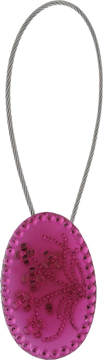 Подхват для штор TexRepublic Ajur. Tross, на магнитах, цвет: серебряный, розовый. 789994620019034603Изящный подхват для штор TexRepublic Ajur. Tross, выполненный из пластика и металла, можно использовать как держатель для штор или для формирования декоративных складок на ткани. С его помощью можно зафиксировать шторы или скрепить их, придать им требуемое положение, сделать симметричные складки. Благодаря магнитам подхват легко надевается и снимается.Подхват для штор является универсальным изделием, которое превосходно подойдет для любых видов штор. Подхваты придадут шторам восхитительный, стильный внешний вид и добавят уют в интерьер помещения.Длина подхвата: 20 см.Диаметр: 3,5 см.