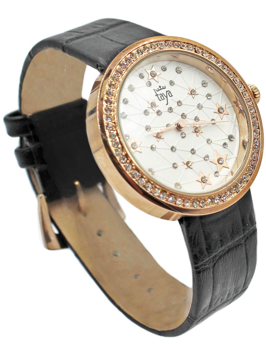 Часы наручные женские Taya, цвет: золотистый, черный. T-W-0039BM8434-58AEСтильные женские часы Taya выполнены из минерального стекла, натуральной кожи и нержавеющей стали. Циферблат и корпус часов инкрустированы стразами.Корпус часов оснащен кварцевым механизмом со сменным элементом питания, а также ремешком из натуральной кожи, который застегивается на пряжку. Ремешок декорирован тиснением под кожу рептилии. Часы поставляются в фирменной упаковке.Часы Taya подчеркнут изящность женской руки и отменное чувство стиля у их обладательницы.