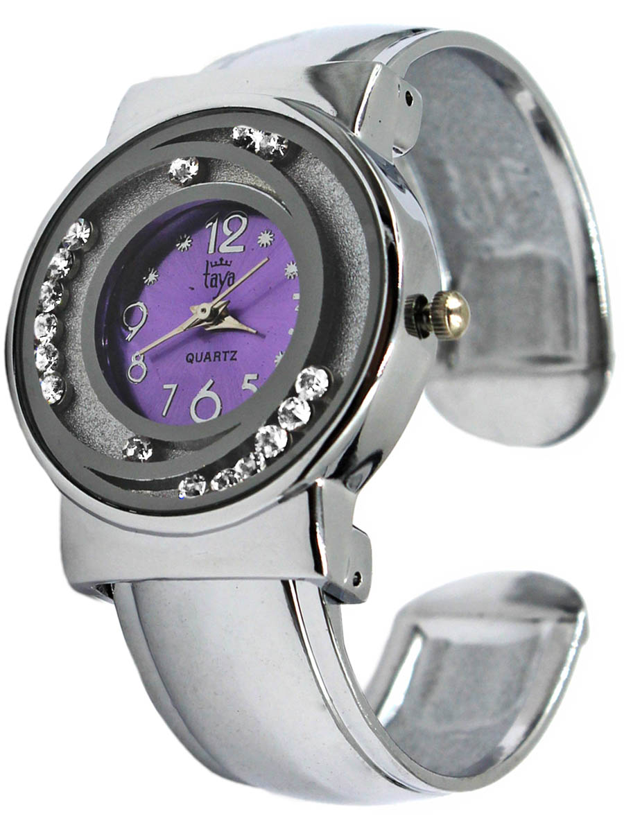 Часы наручные женские Taya, цвет: серебристый, лавандовый. T-W-0414BP-001 BKЧасы наручные электронно-механические кварцевые, аксессуарные, с механической индикацией. Раздвижной браслет с пружинным механизмом позволяет надеть часы на любую руку. Вокруг циферблата располагаются стразы, которые могут свободно перемещаться по ложбинкам. Часовой механизм Morioka Tokei inc. Сингапур с питанием от сменного кварцевого элемента питания типа LR626.