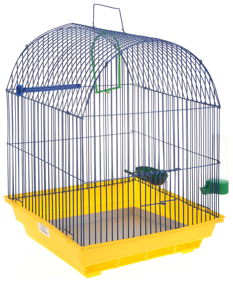 Клетка для птиц ЗооМарк, цвет: желтый поддон, синяя решетка, 35 х 28 х 45 см0120710Клетка ЗооМарк, выполненная из полипропилена и металла, предназначена для мелких птиц. Вы можете поселить в нее одну или две птицы. Изделие состоит из большого поддона и решетки. Клетка снабжена металлической дверцей, которая открывается и закрывается движением вверх-вниз. В основании клетки находится малый поддон. Клетка удобна в использовании и легко чистится. Она оснащена жердочкой, кольцом для птицы, кормушкой, поилкой и подвижной ручкой для удобной переноски. Комплектация: - клетка с поддоном, - малый поддон; - кормушка; - поилка; - кольцо.